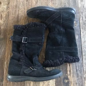 White Mountain Thunder Blk Suede Faux Fur Boot 8.5